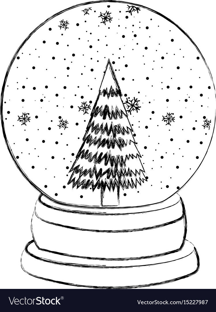 Christmas Pictures To Draw.Sketch Draw Christmas Glass Snow Ball