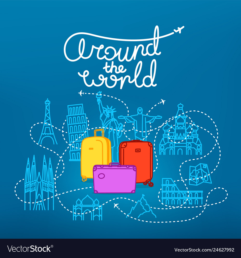 Around the world concept world travel color