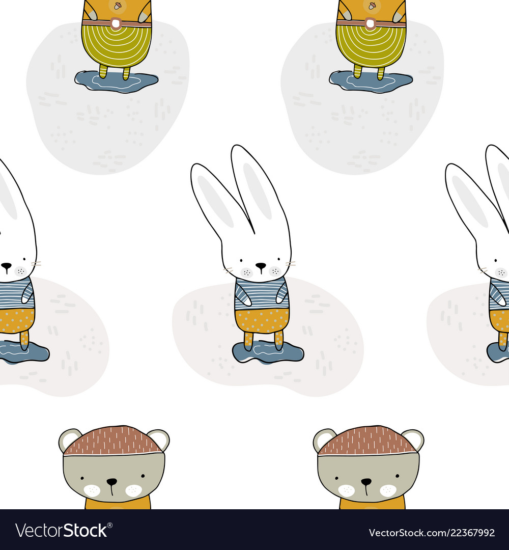 Bear and rabbit standing in a clearing children s