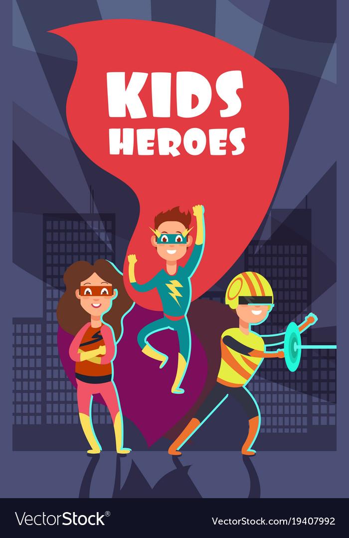Brave superhero kids cartoon poster