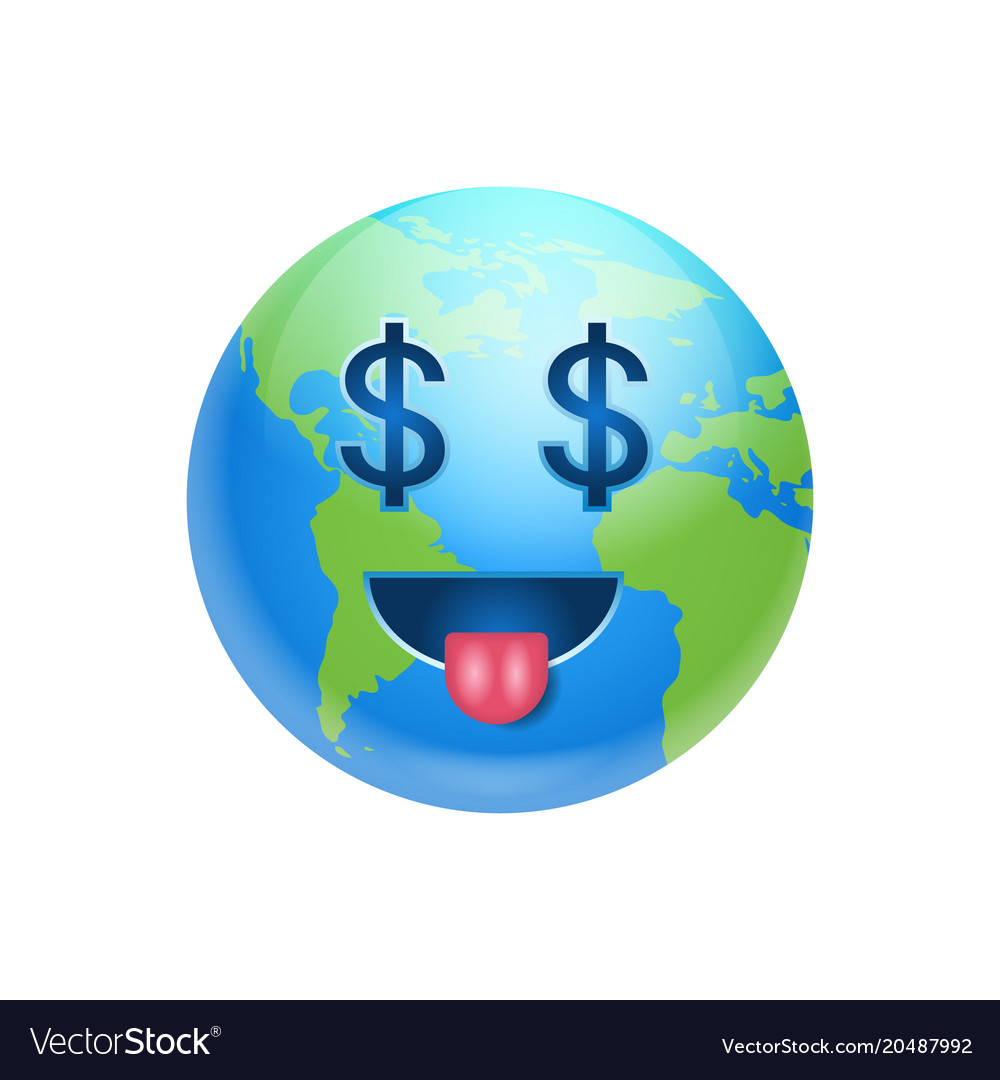 Cartoon earth face with dollar sign icon funny