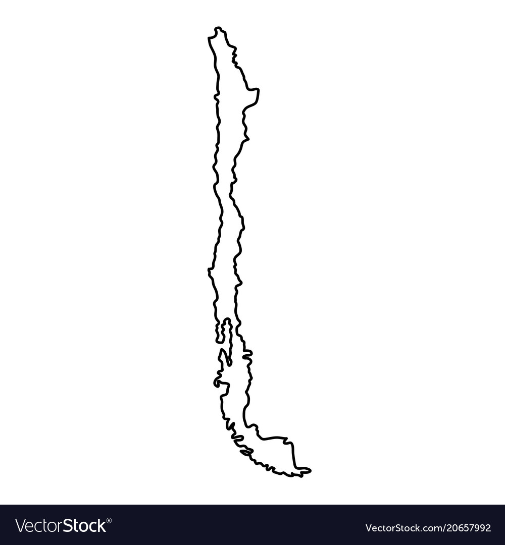 Chile map of black contour curves of
