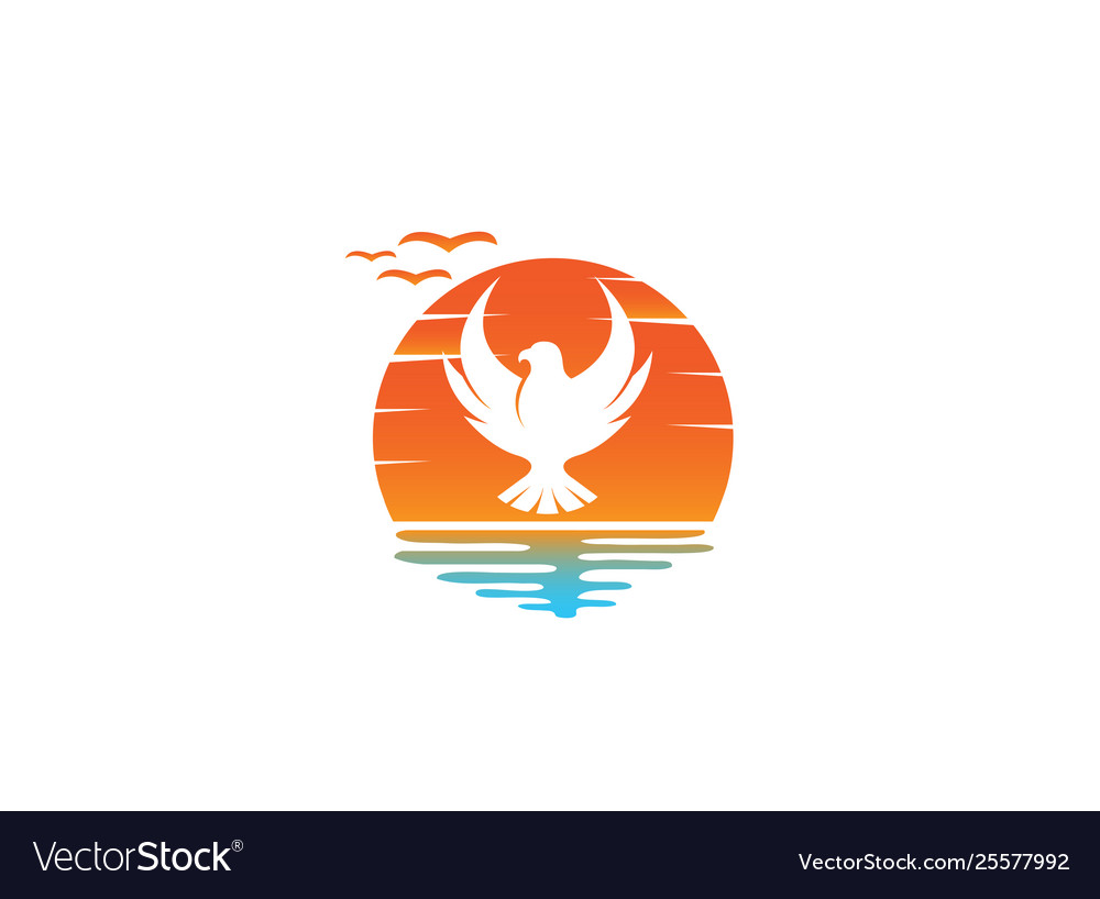 Falcon or eagle open wings flying logo design