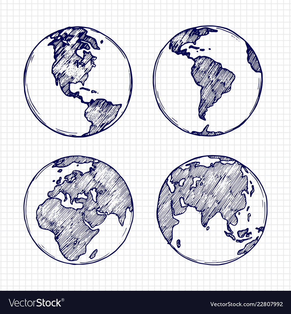 Globe sketch hand drawn earth planet with