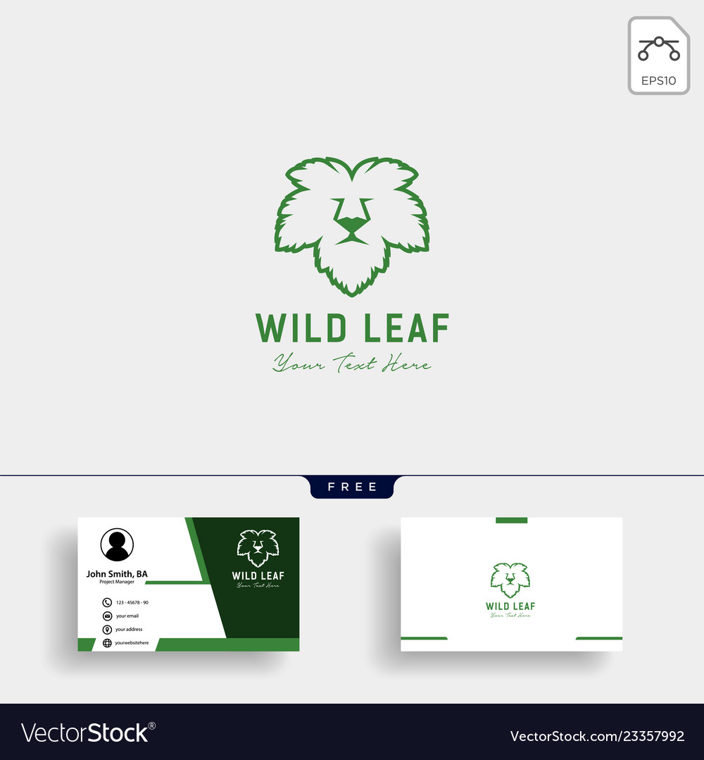 Lion wild leaf logo template with business card