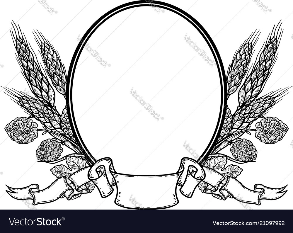 Oval frame with hand drawn hop and wheat beer