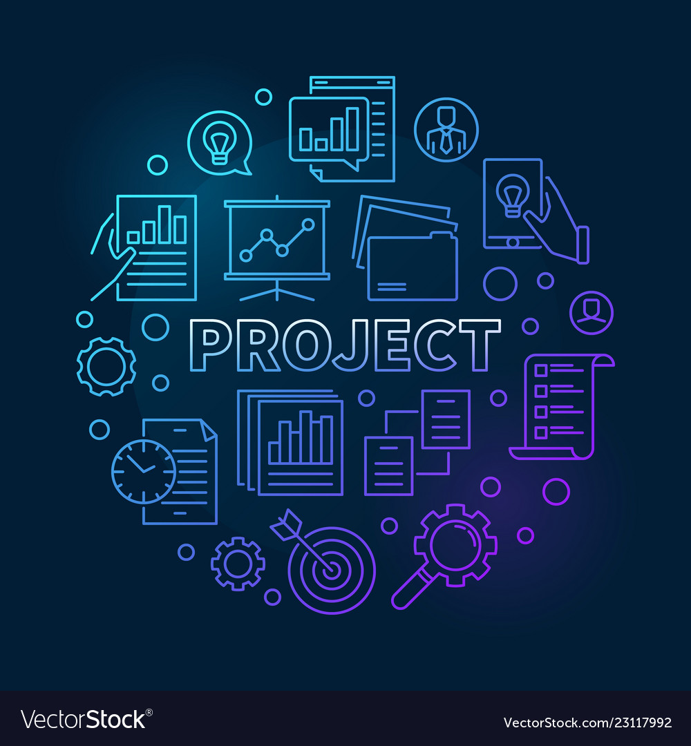 Project round business concept blue outline