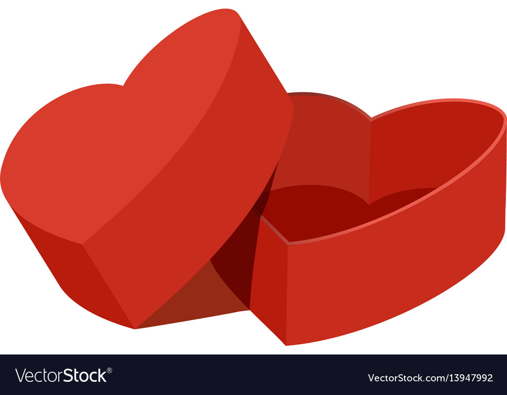 Red heart shaped gift box icon flat style