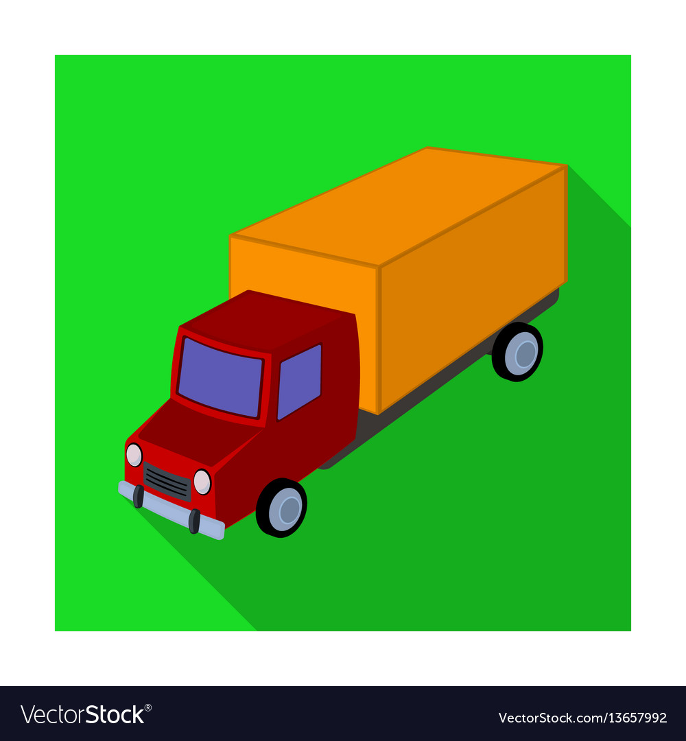 Red truck with a yellow body the car for cargo
