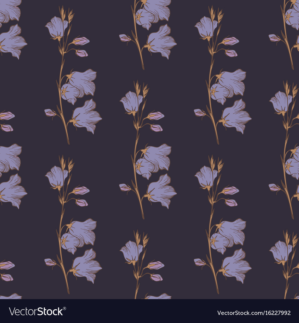 Seamless pattern with wildflowers on a dark vector image