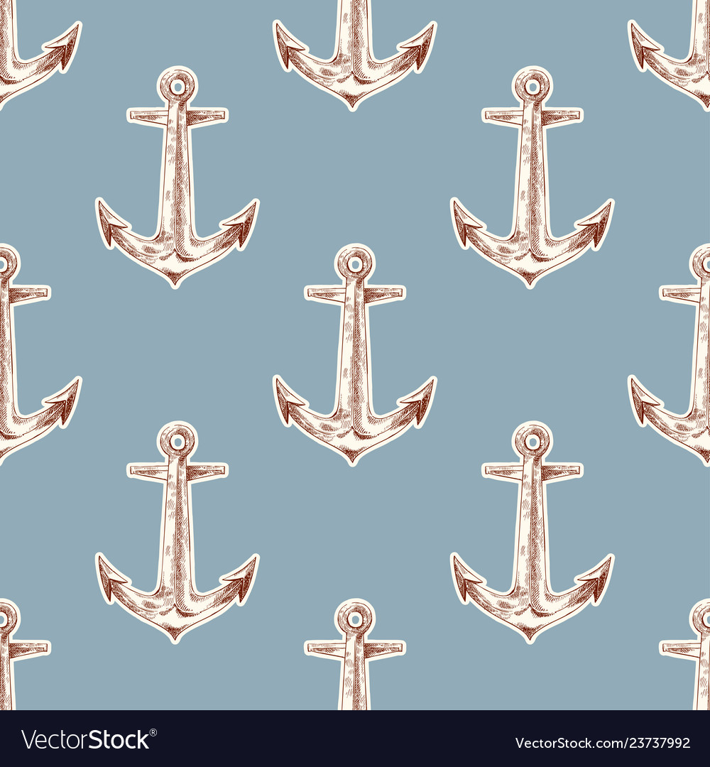 Seamless vintage pattern with anchor