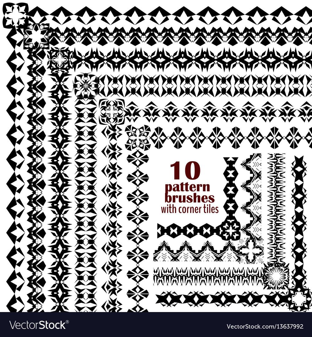 Set of geometric black borders in ethnic boho