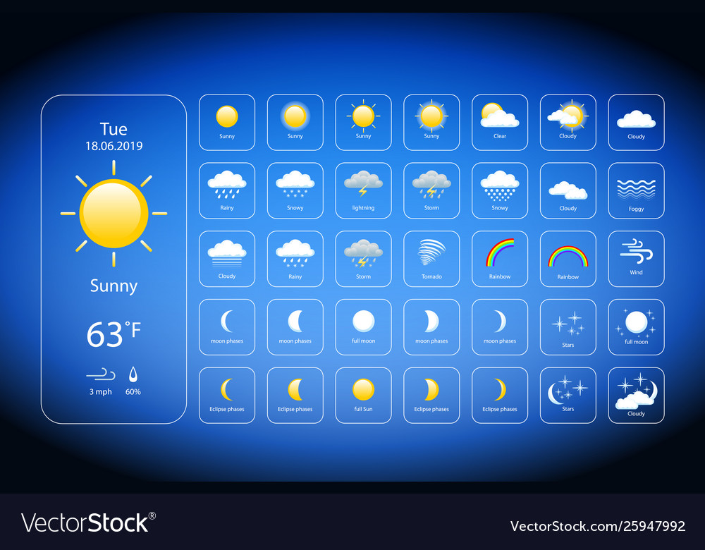 Set weather icons all icons for weather with vector image