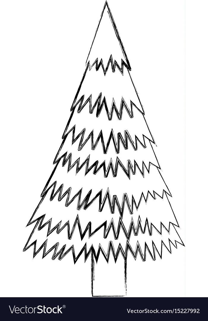 Drawing Christmas Tree Sketch.Sketch Draw Christmas Tree Cartoon