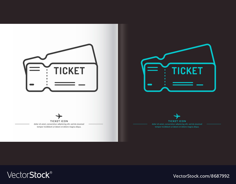 Ticket icon on background vector image