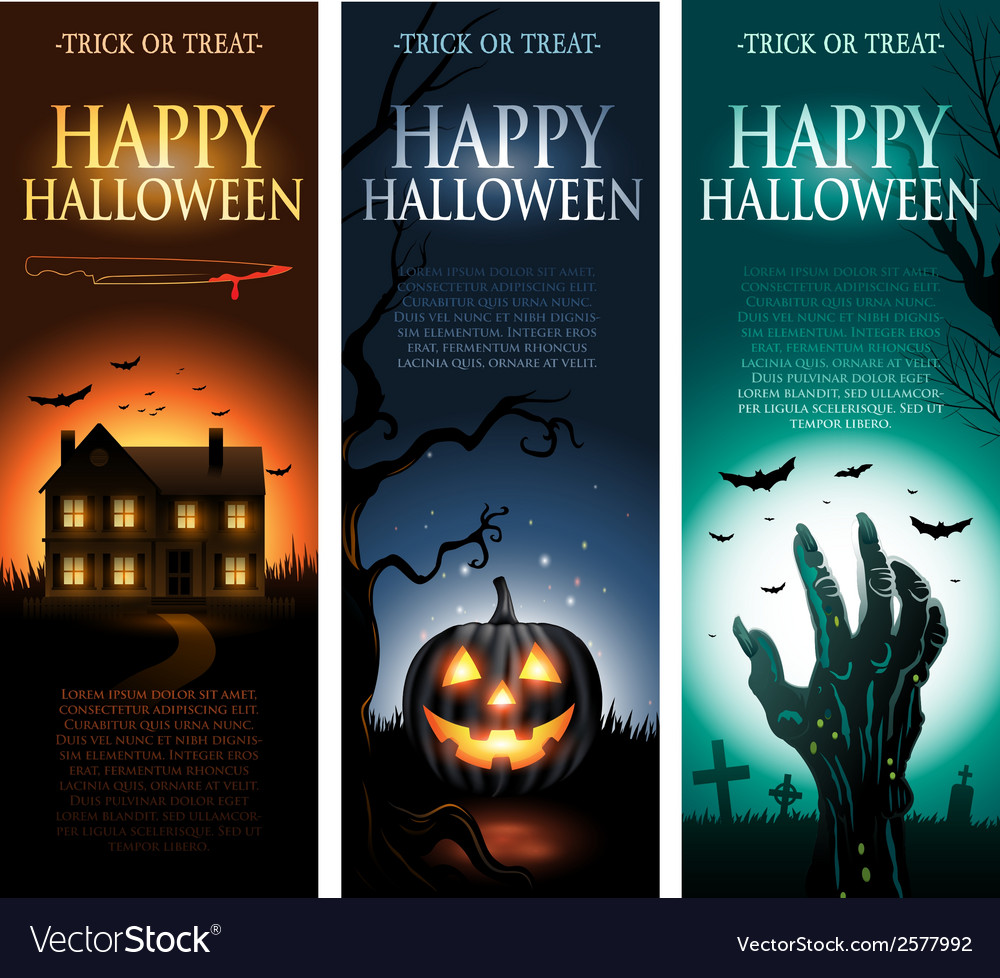 Vertical Halloween invitation banners