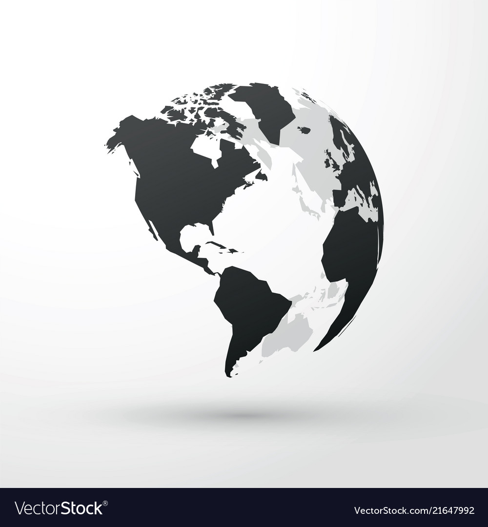 Picture of: World Globe North Central And South America Vector Image