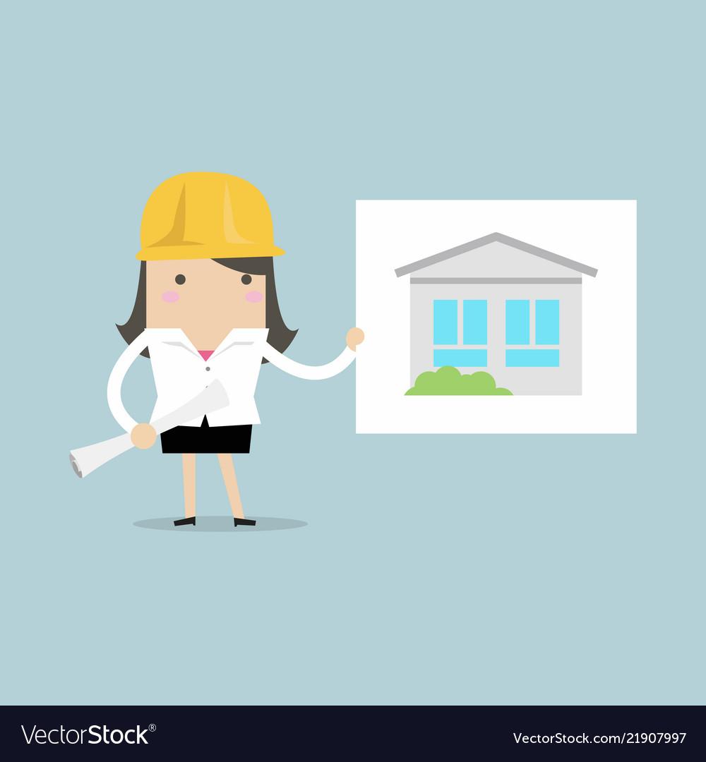 Businesswoman show house plans
