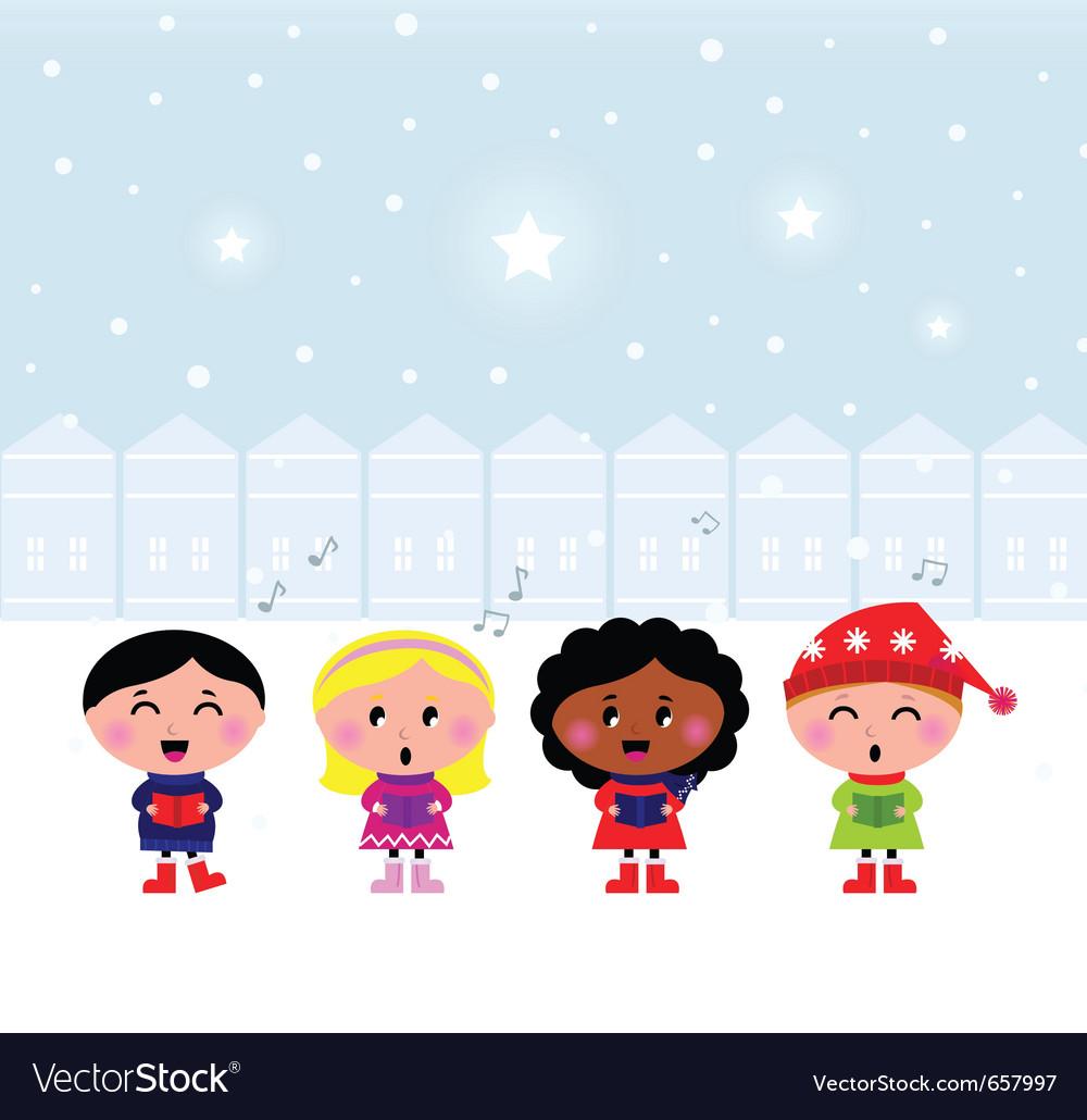 Christmas carroling children