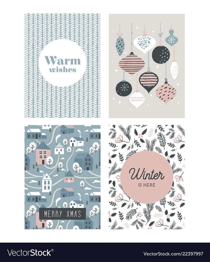 Christmas poster and greeting cards in retro style