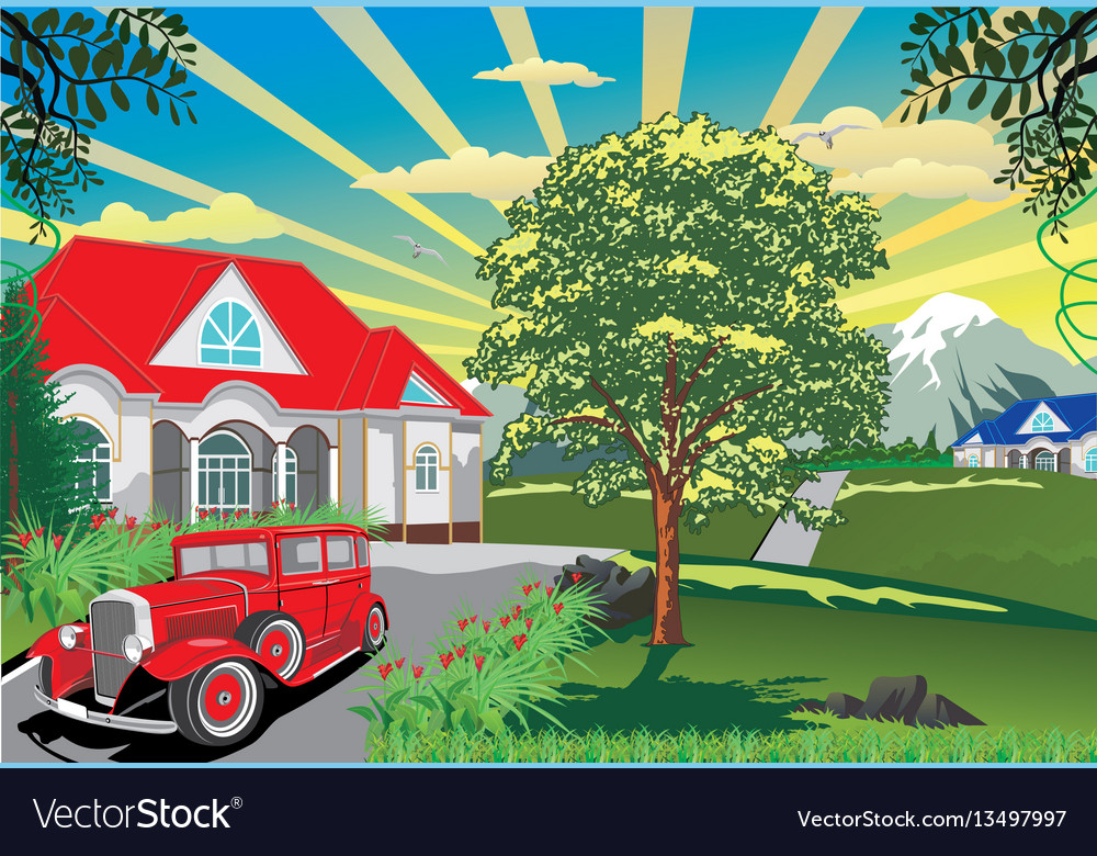 Countryside - car near the cottage vector image
