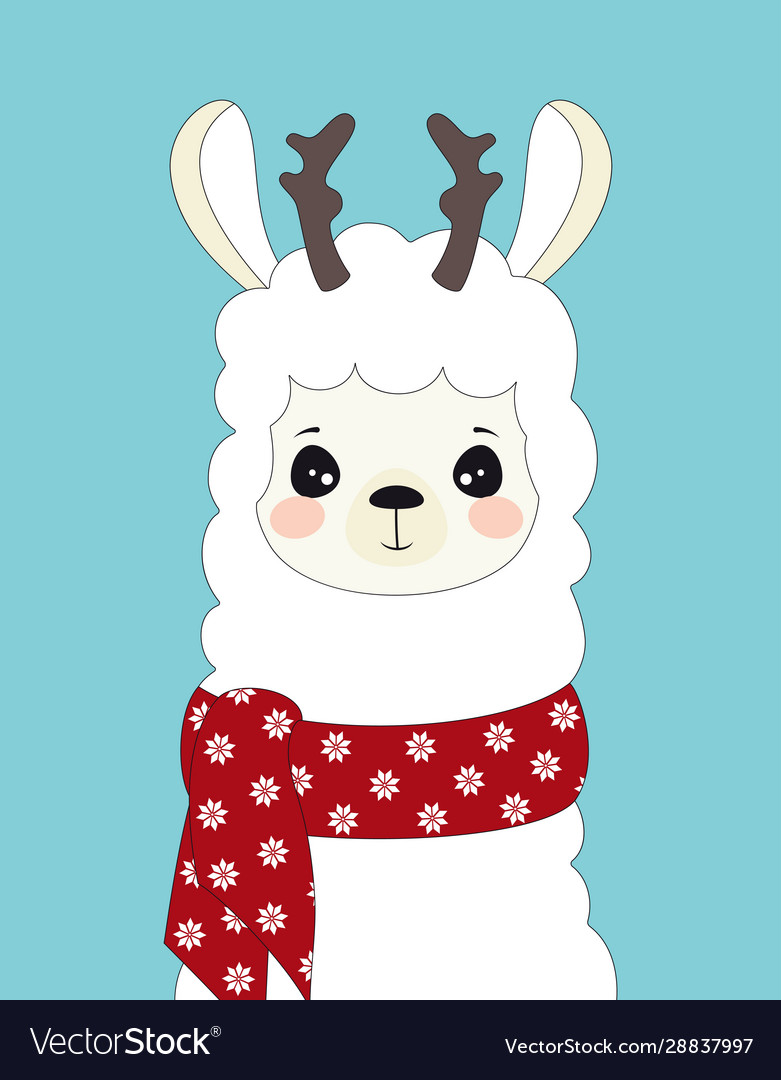 Cute llama isolated winter card