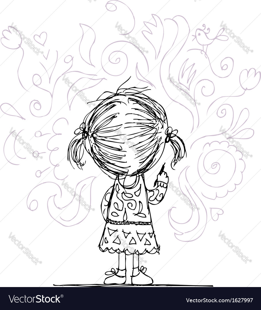 Girl draws flowers on the wall sketch for your