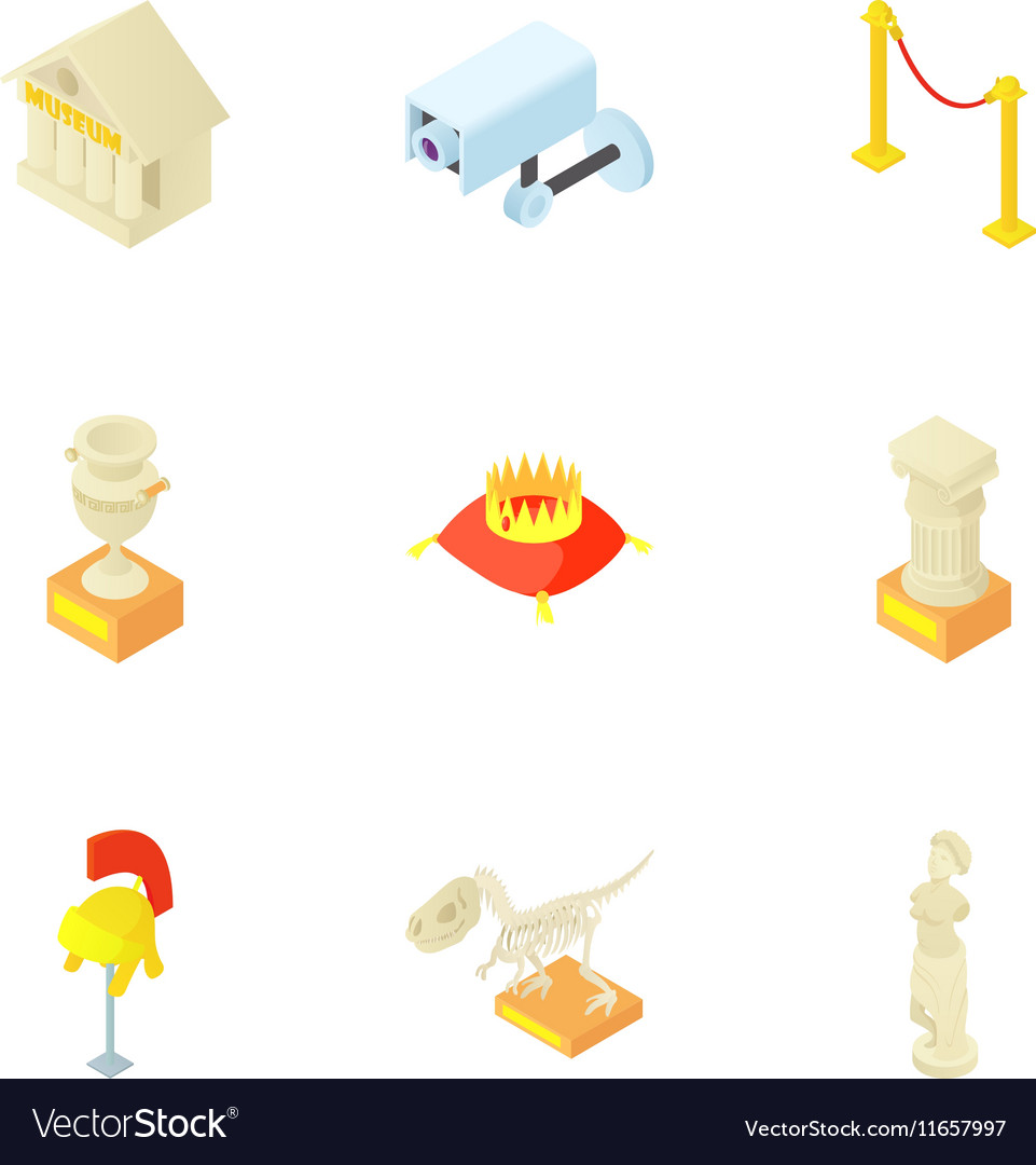 Items in museum icons set cartoon style