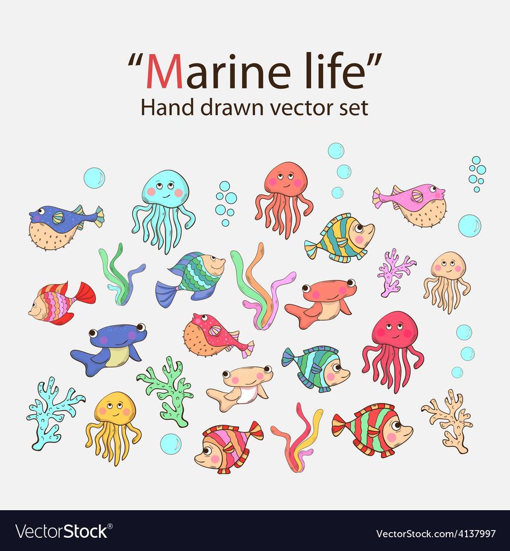 Marine life hand drawn set