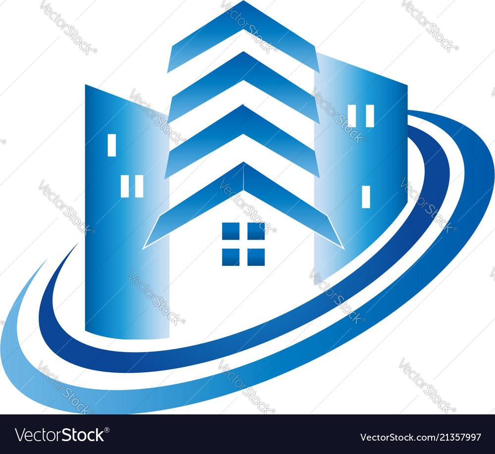 Modern house building icon logo