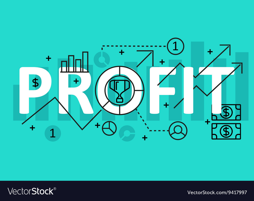 Profit concept flat line design with icons and