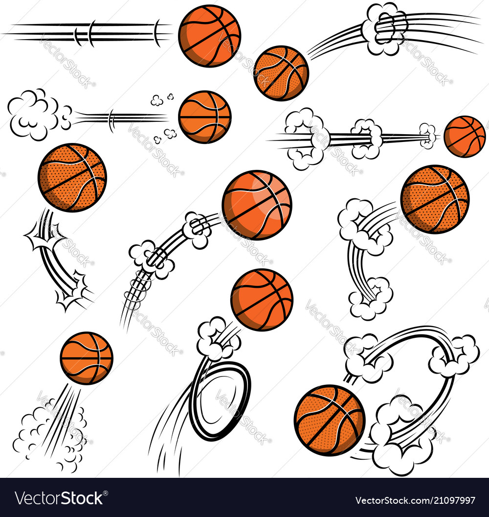 Set of basketball balls with motion trails in