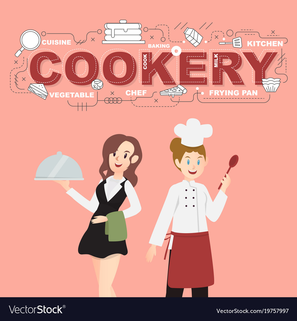 Waitress and cookery with food icons design
