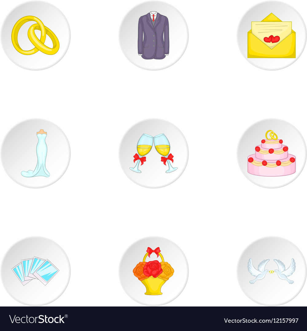 Wedding celebration icons set cartoon style