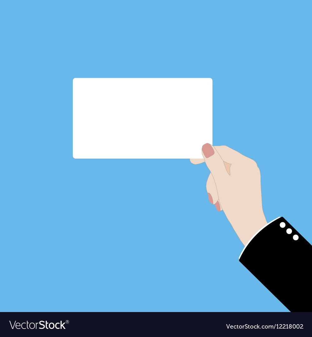 A hand with business card vector image