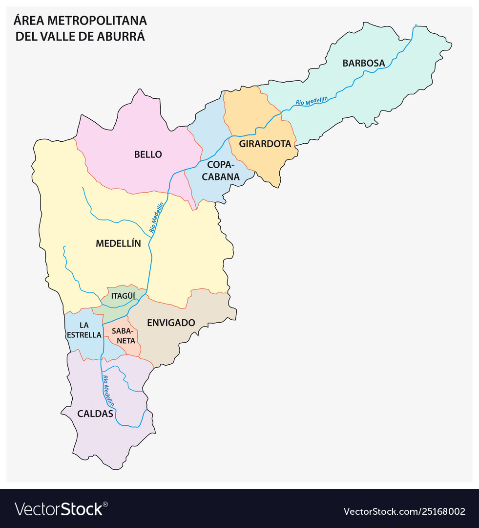 Administrative map colombian aburra valley