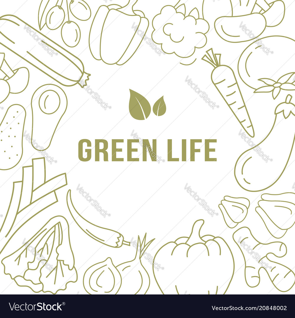 Banner template with organic vegetables