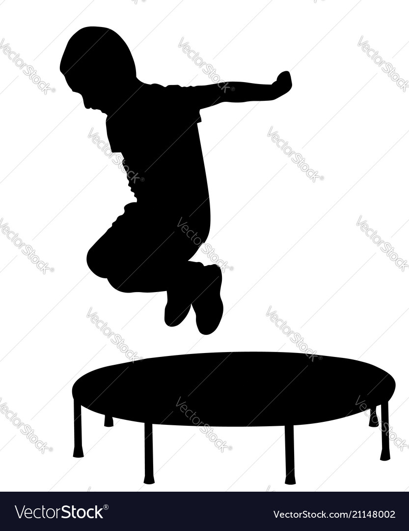 Boy Jump Out From Trampoline Silhouette Vector Image