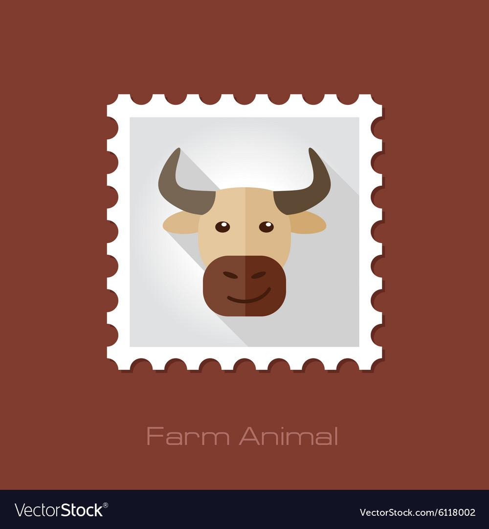 Bull flat stamp Animal head