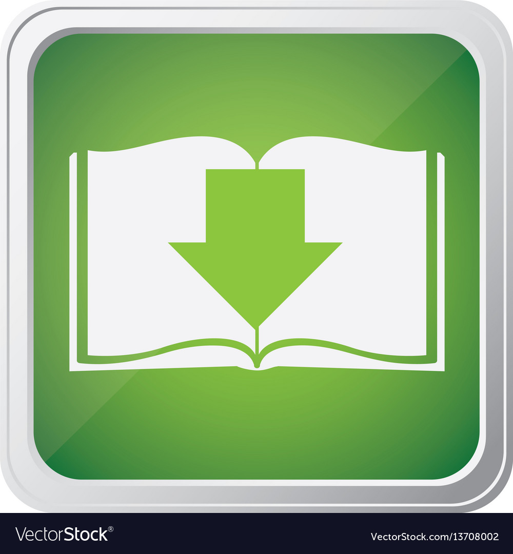 Button icon of book with arrow down with