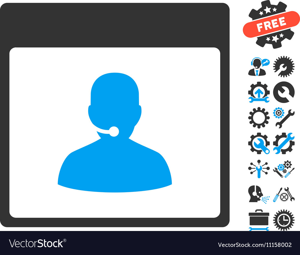 Call Center Manager Calendar Page Icon With vector image