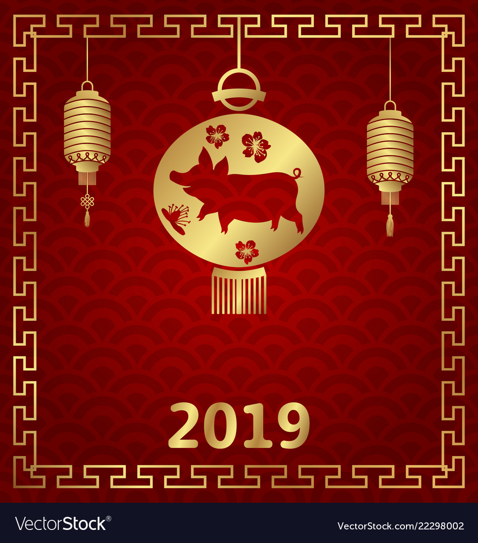 Chinese background for happy new year 2019 zodiac