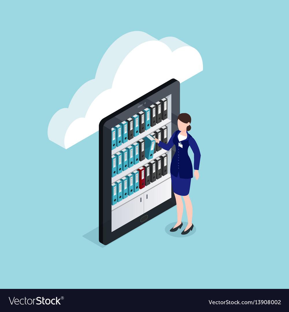 Cloud documents storage isometric design