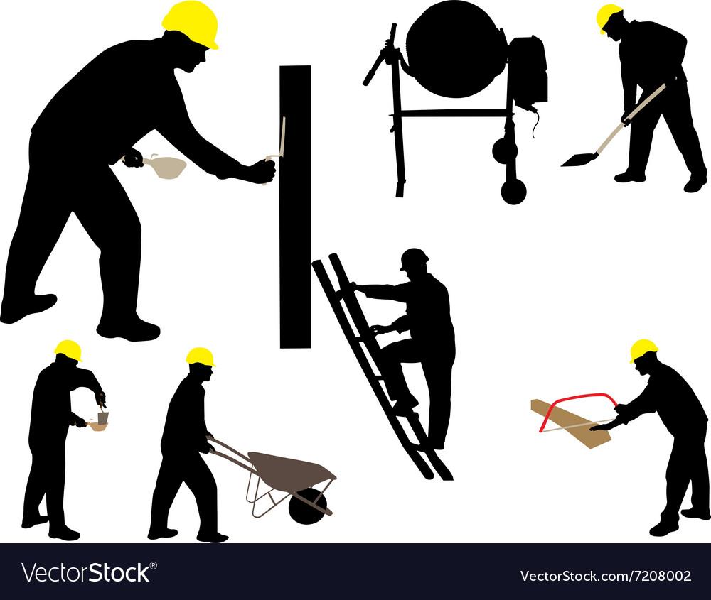 Construction workes mason silhouettes vs vector image
