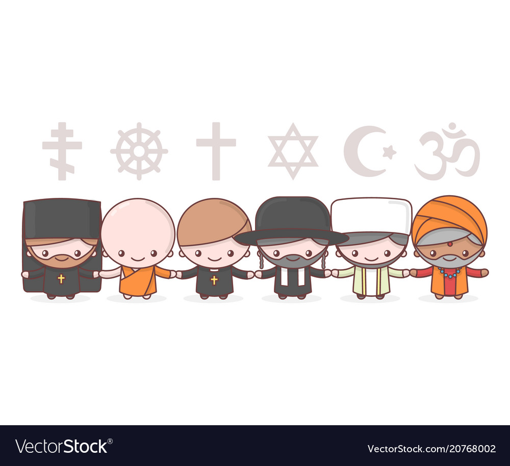 Cute characters people of different religions