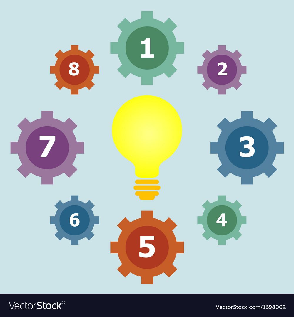 Gear elements template with bulb vector image