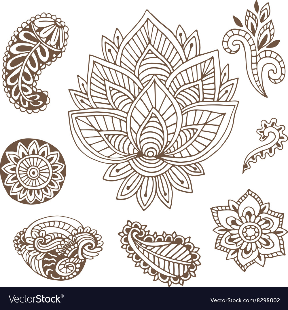 Hand drawn indian ornaments collection