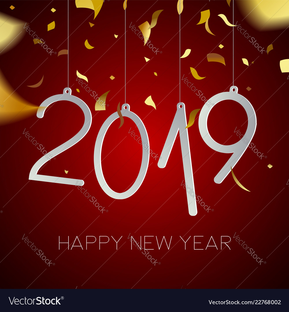 happy new year 2019 gold holiday party card vector image