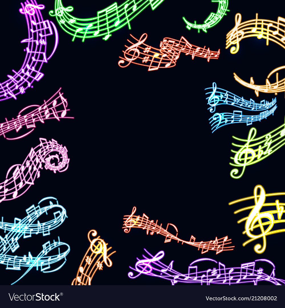 Notes music neon melody colorful musician