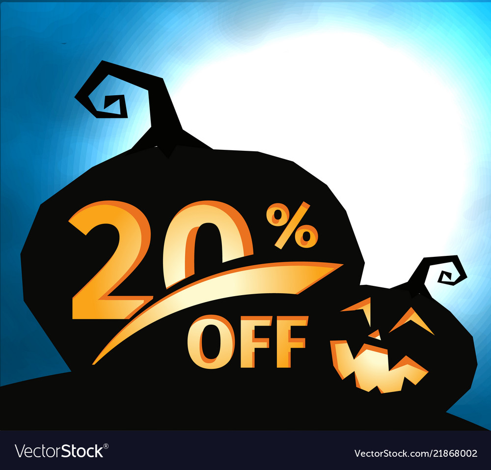 Pumpkin silhouette on dark blue sky with full moon